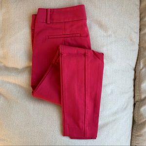 Bright pink LOFT Marissa Fit skinny ankle fit pant